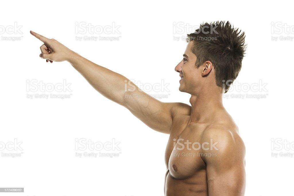 Happy shirtless man pointing royalty-free stock photo