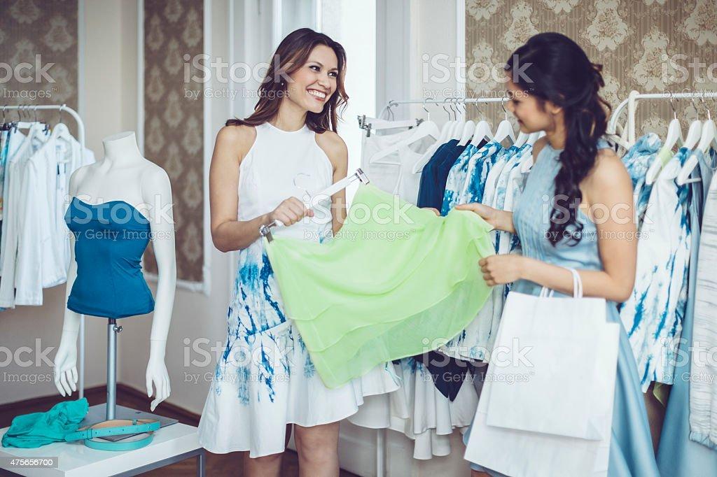 Happy shoppers stock photo