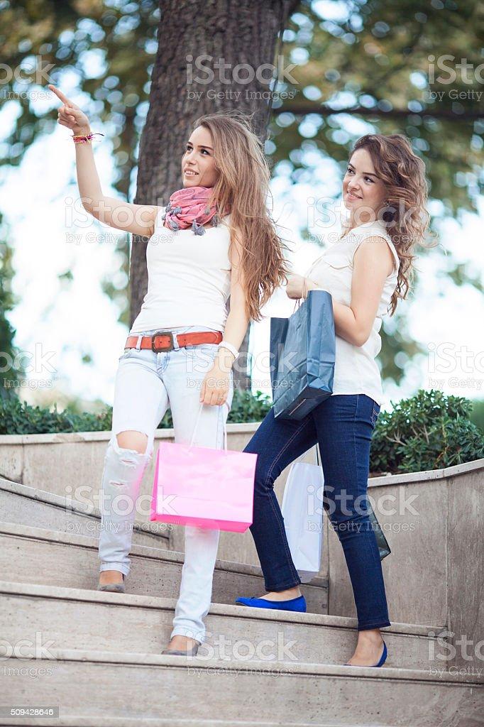 Happy shopping addiction stock photo