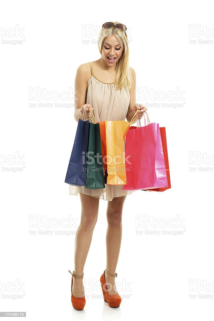 Happy shopping blonde royalty-free stock photo
