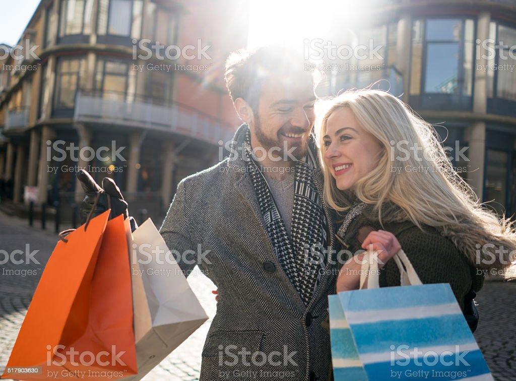 Happy shopping couple stock photo