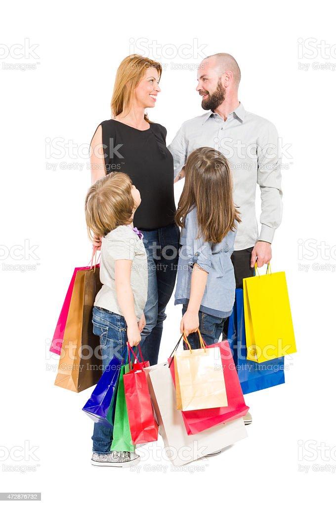 Happy shopping family stock photo