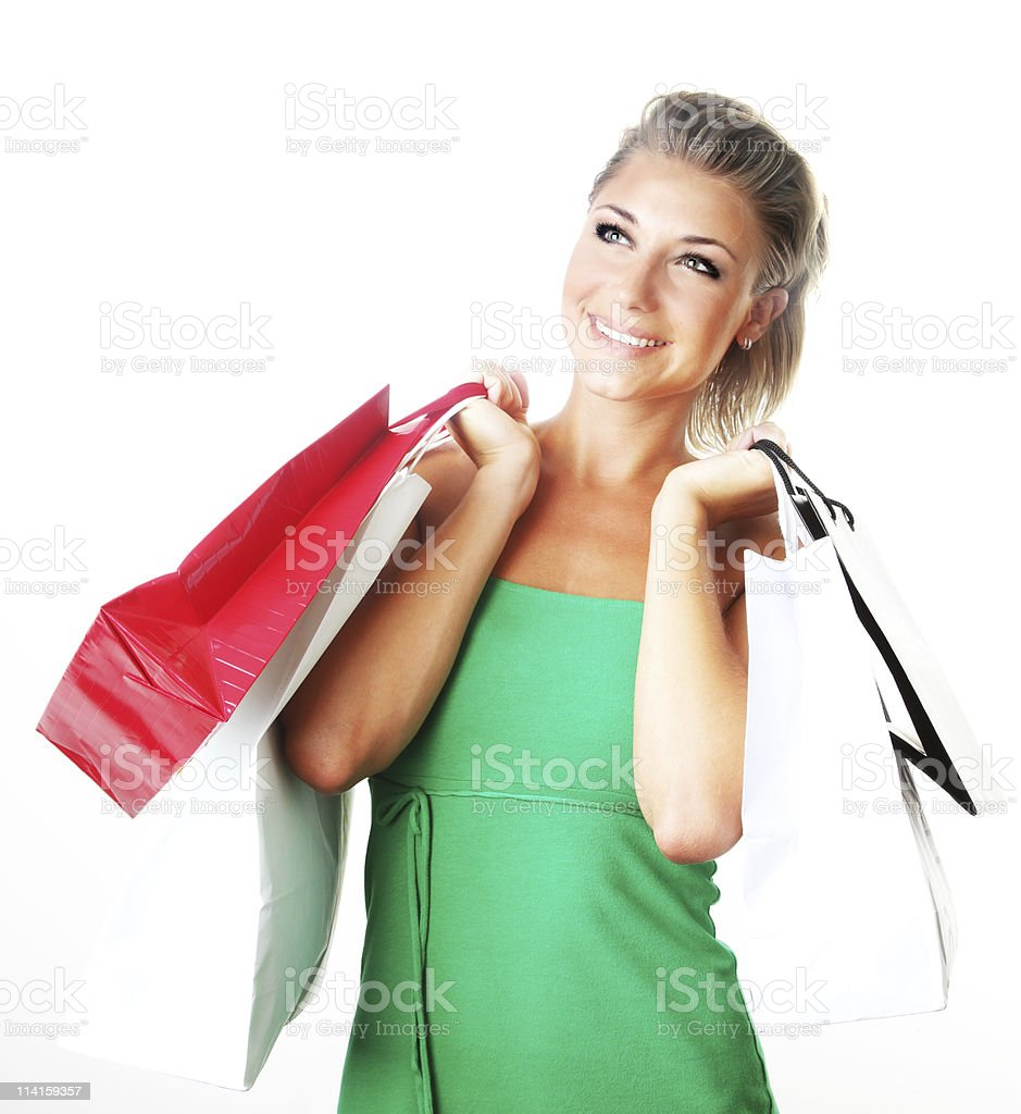 Happy shopping girl royalty-free stock photo