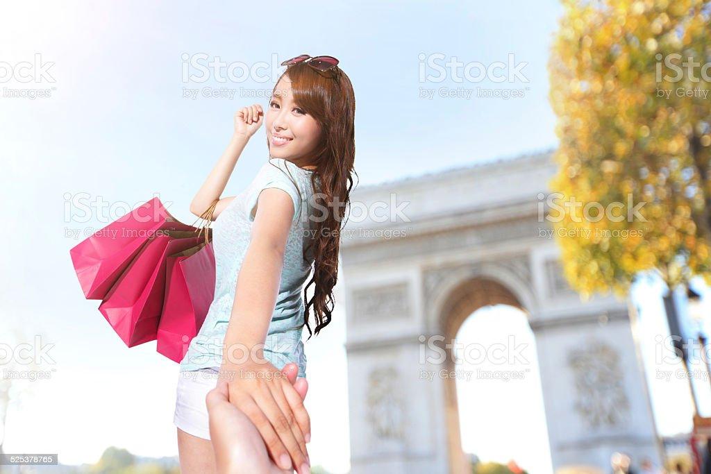 Happy Shopping in Paris stock photo