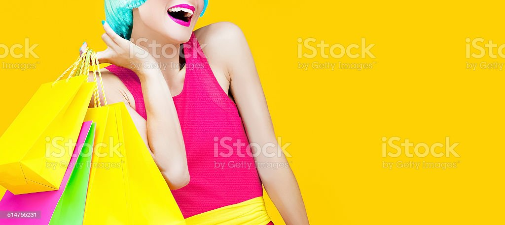 Happy shopping lady stock photo