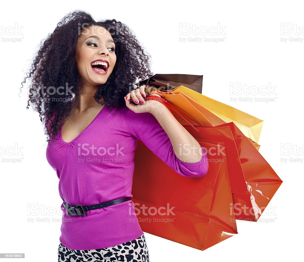 Happy shopping woman royalty-free stock photo