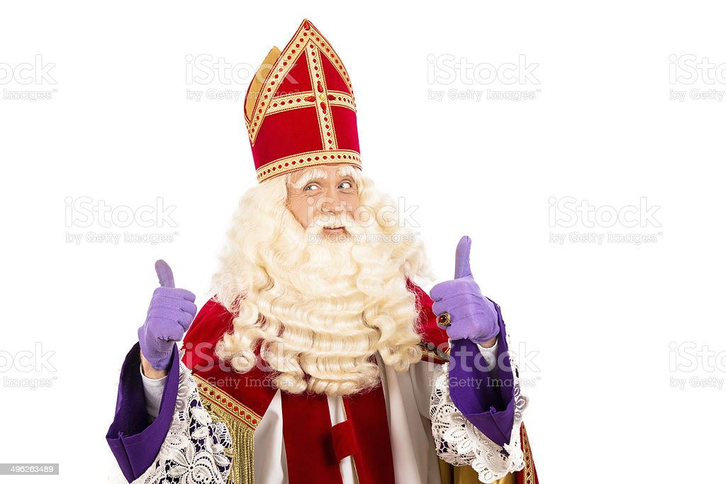 Happy Sinterklaas on white background stock photo
