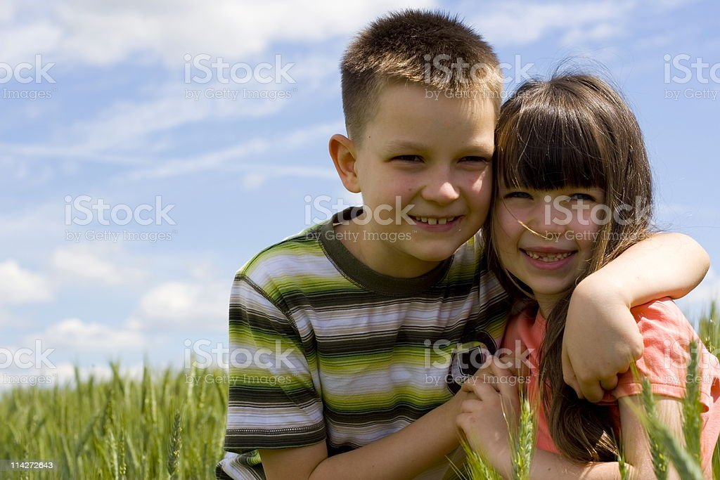 Happy sister and brother royalty-free stock photo