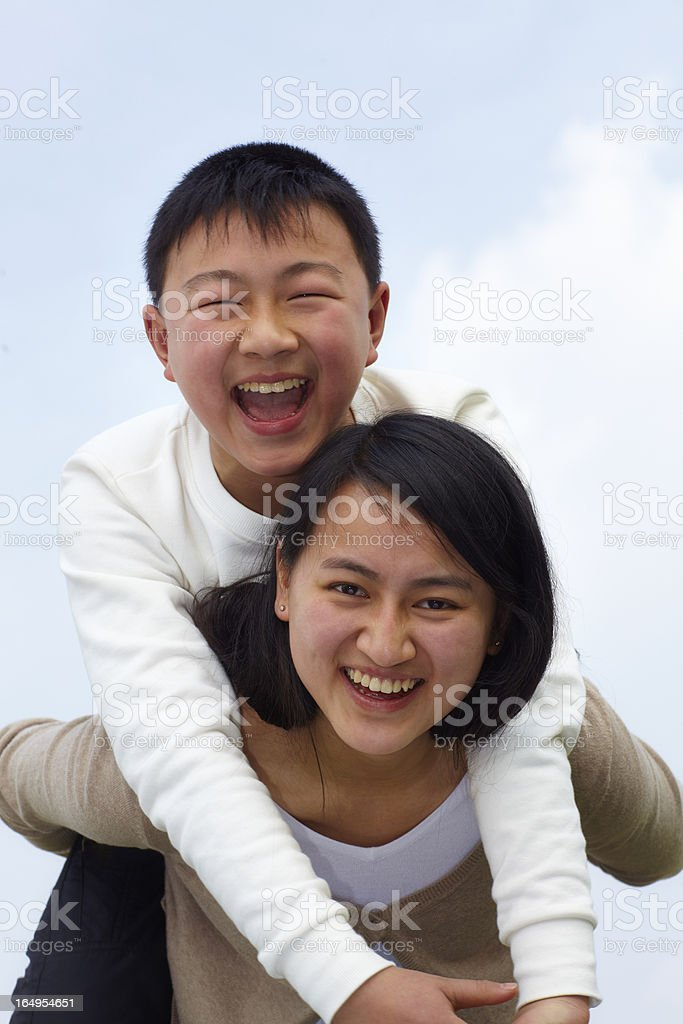 happy sister and brother together outdoor royalty-free stock photo