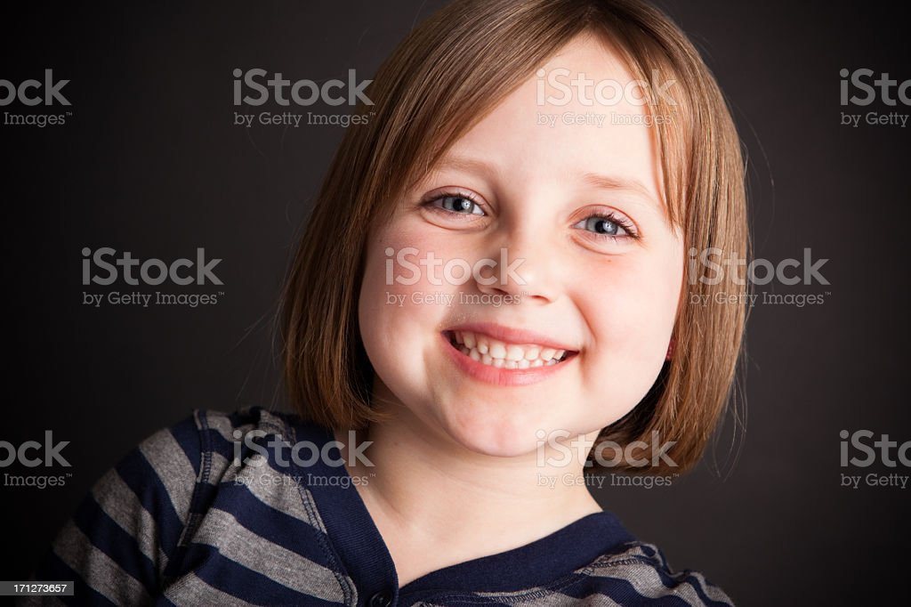 Happy Six Year Old Girl, With Black Background stock photo
