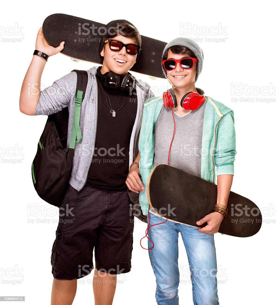 Happy skateboarders stock photo