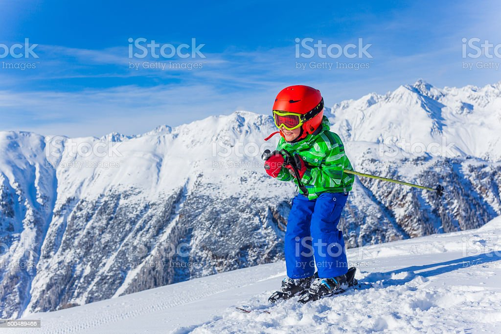Happy skier boy stock photo