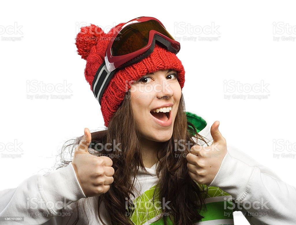 Happy  skier. royalty-free stock photo