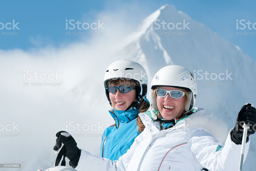 Happy skiers royalty-free stock photo