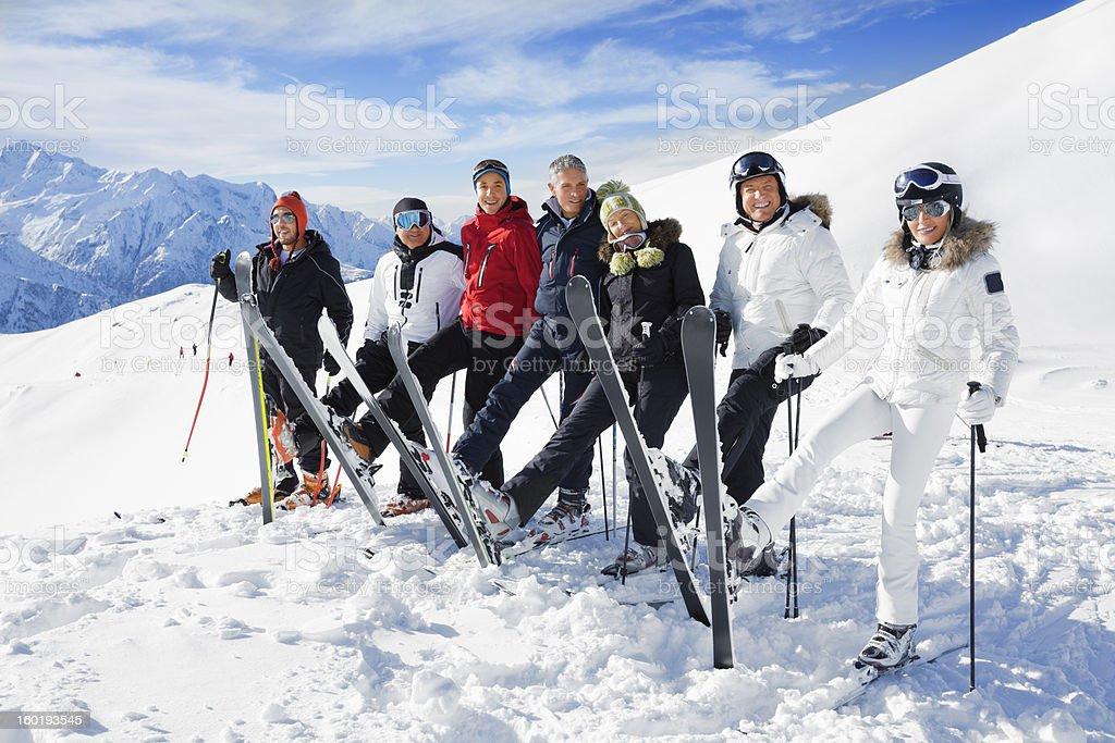 Happy skiing group stock photo