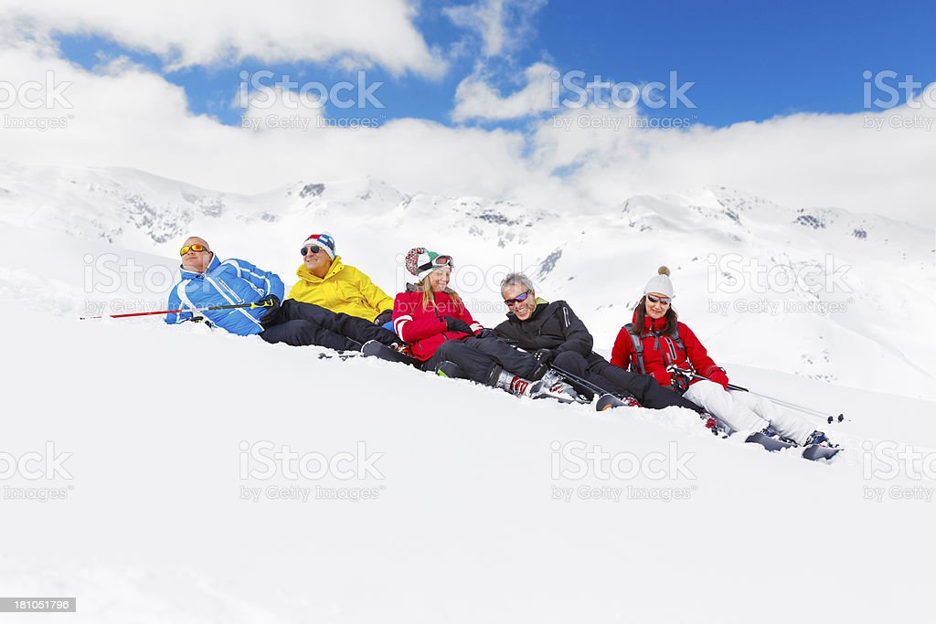 Happy skiing group royalty-free stock photo