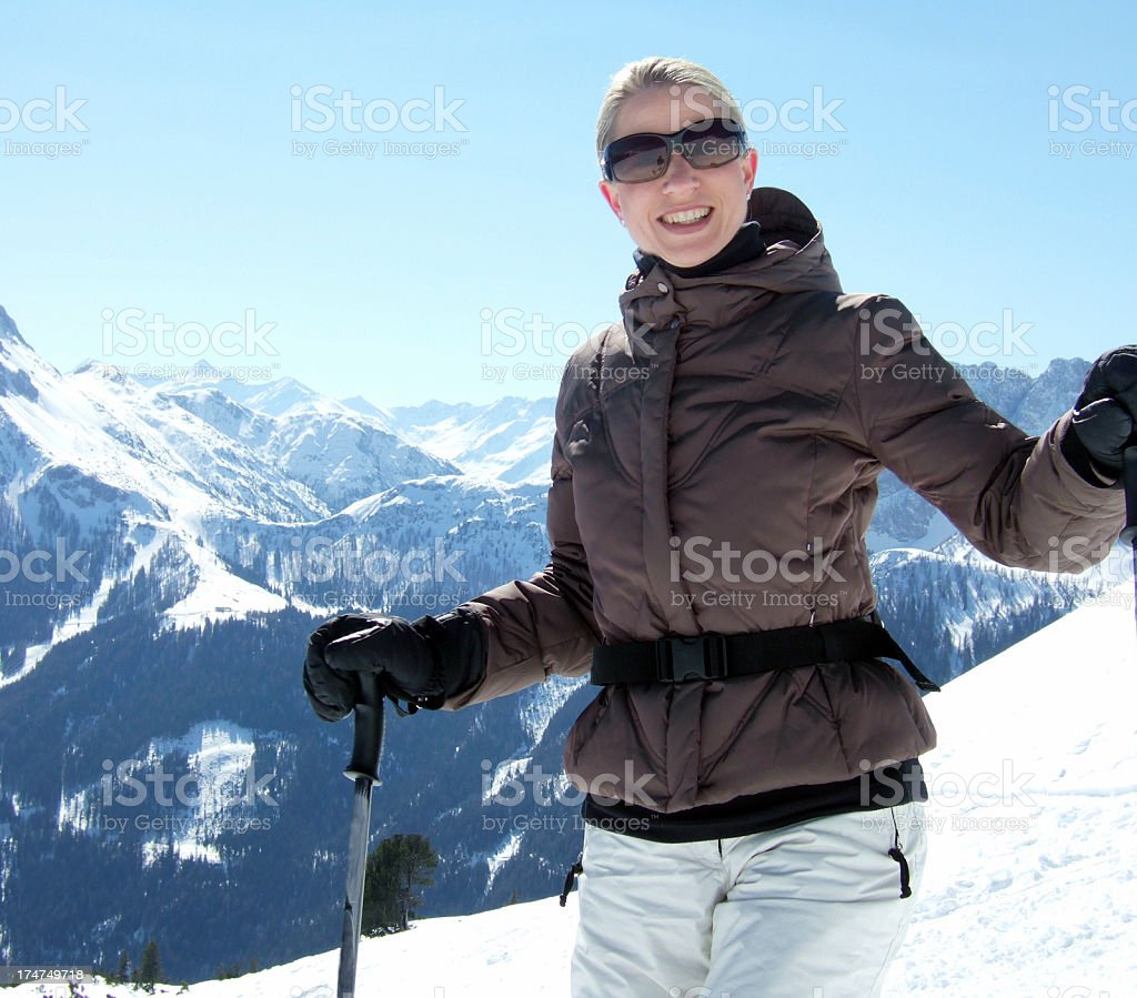 Happy skiing royalty-free stock photo