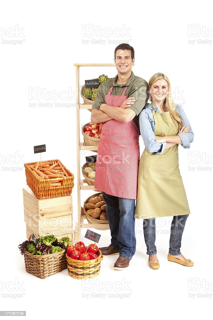 Happy Small Business Grocery Store Owners Partnership Couple on White royalty-free stock photo