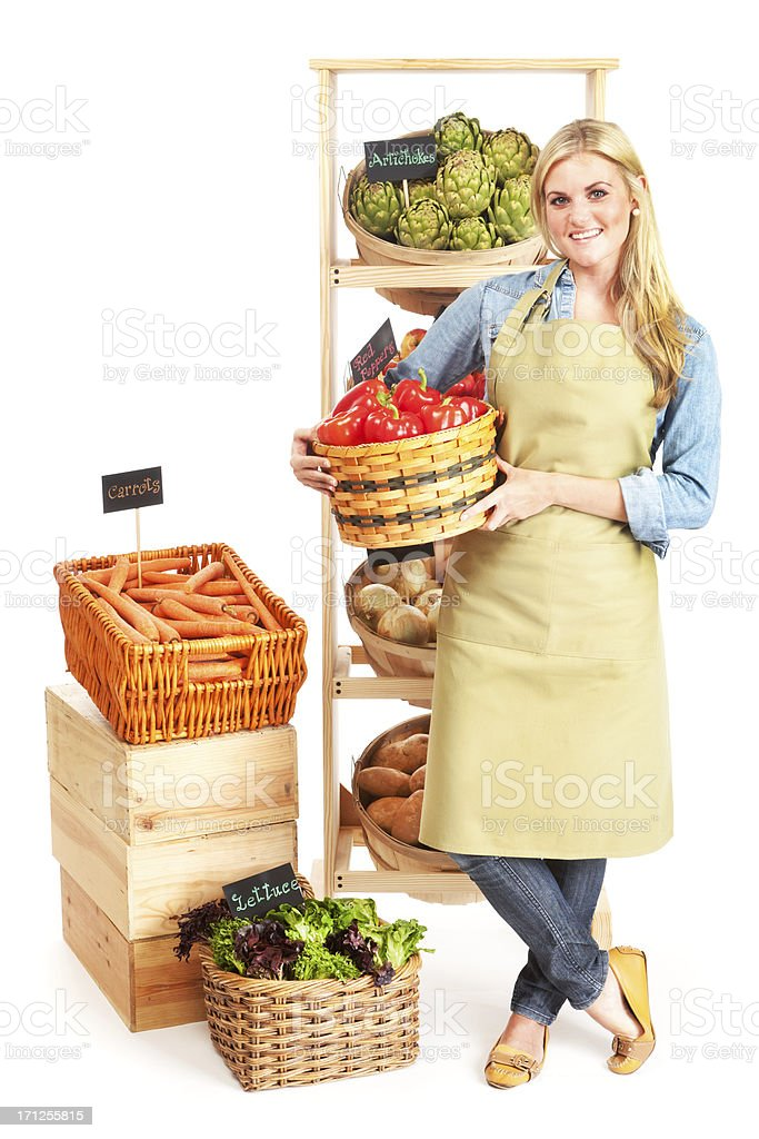Happy Small Business Local Grocery Store Owner on White Background royalty-free stock photo