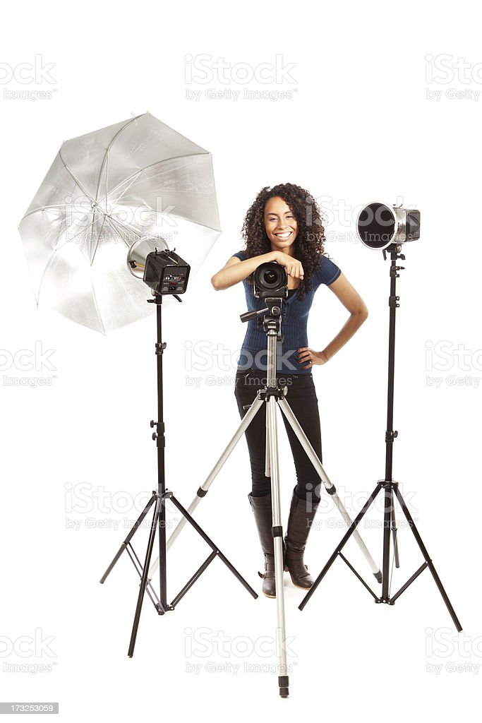 Happy Small Business Professional Photographer on White Background Hz stock photo