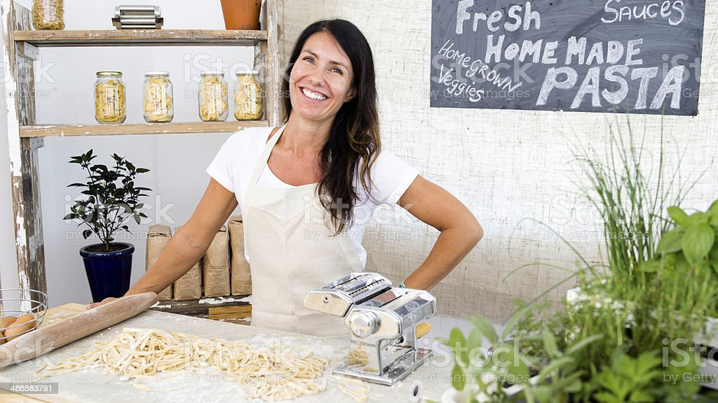 Happy Small Business Woman Pasta Maker royalty-free stock photo