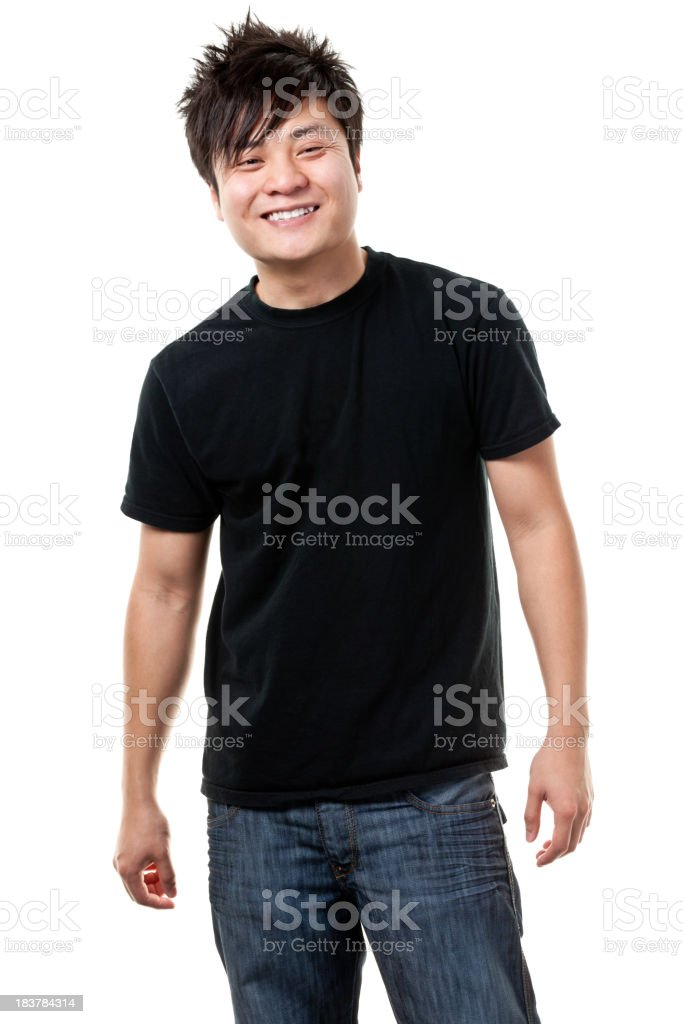 Happy smiling Asian man white background stock photo