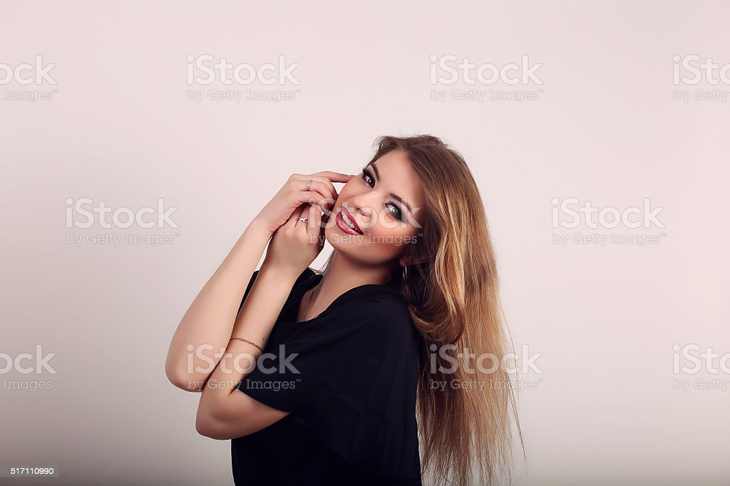 Happy smiling beautiful woman on white background royalty-free stock photo
