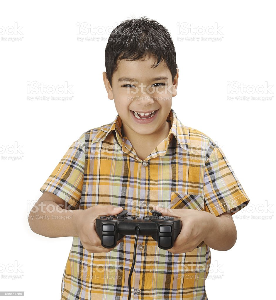 happy smiling boy with generic gamepad royalty-free stock photo