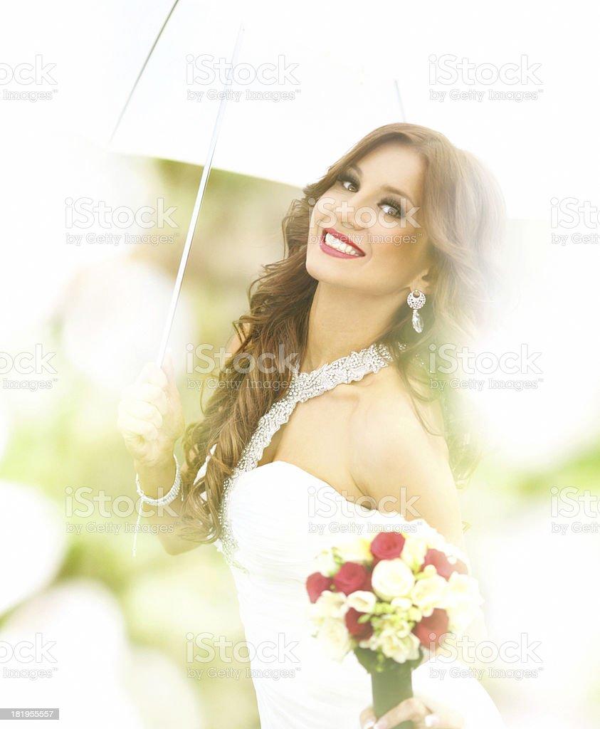 Happy smiling bride. royalty-free stock photo