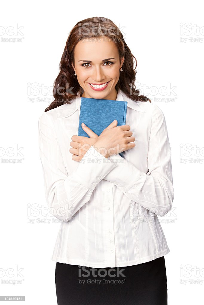 Happy smiling cheerful young business woman with notepad, isolated stock photo