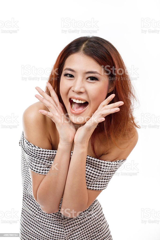 happy, smiling, confident woman showing positive expression stock photo