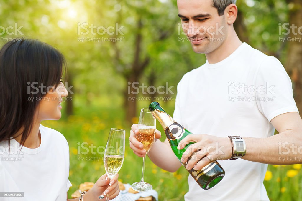 Happy smiling couple drinking champagne on picnic stock photo
