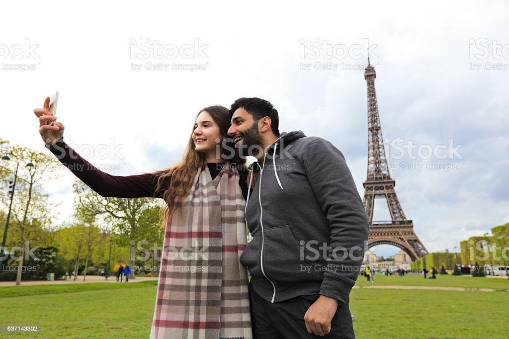 Happy smiling couple making selfie stock photo