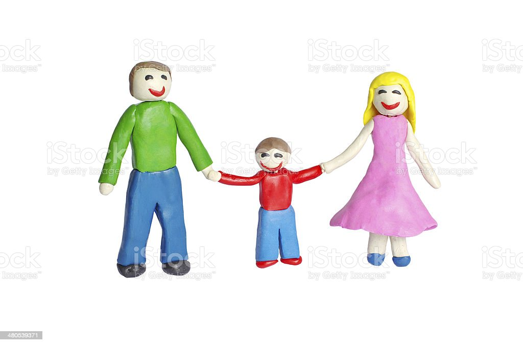 Happy smiling Family from clay stock photo