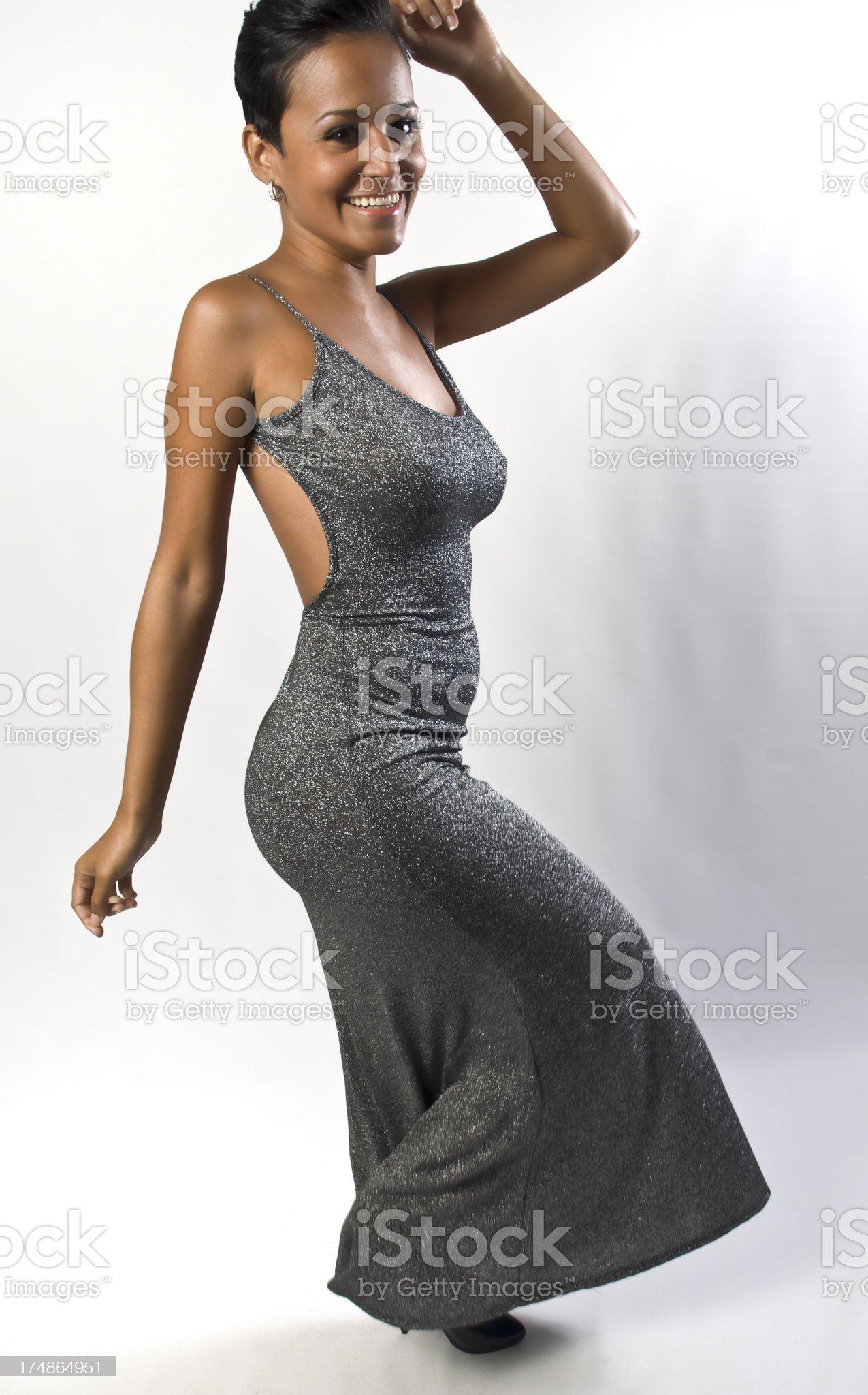 Happy Smiling Female fashion Model Dancing royalty-free stock photo