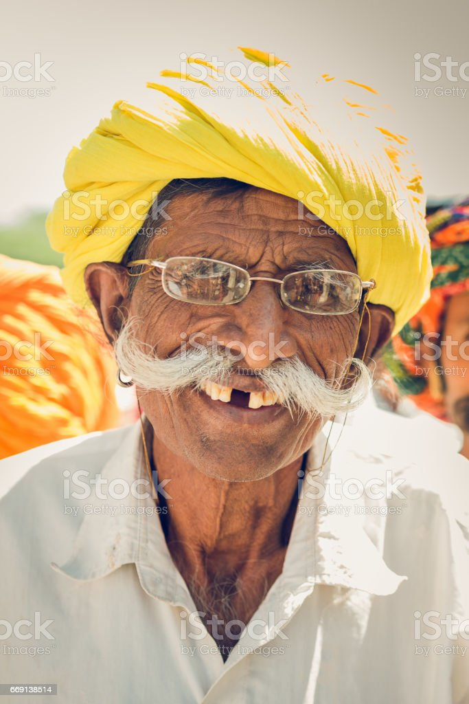 Happy Smiling Gap Toothed Senior Indian Man Real People Portrait India stock photo
