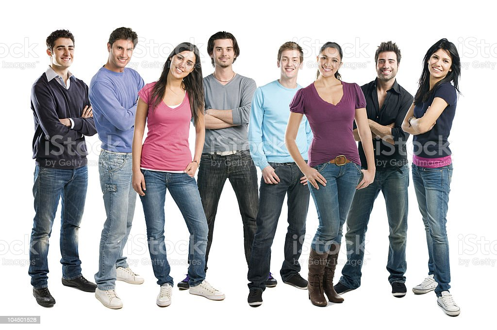 Happy smiling group of friends standing stock photo