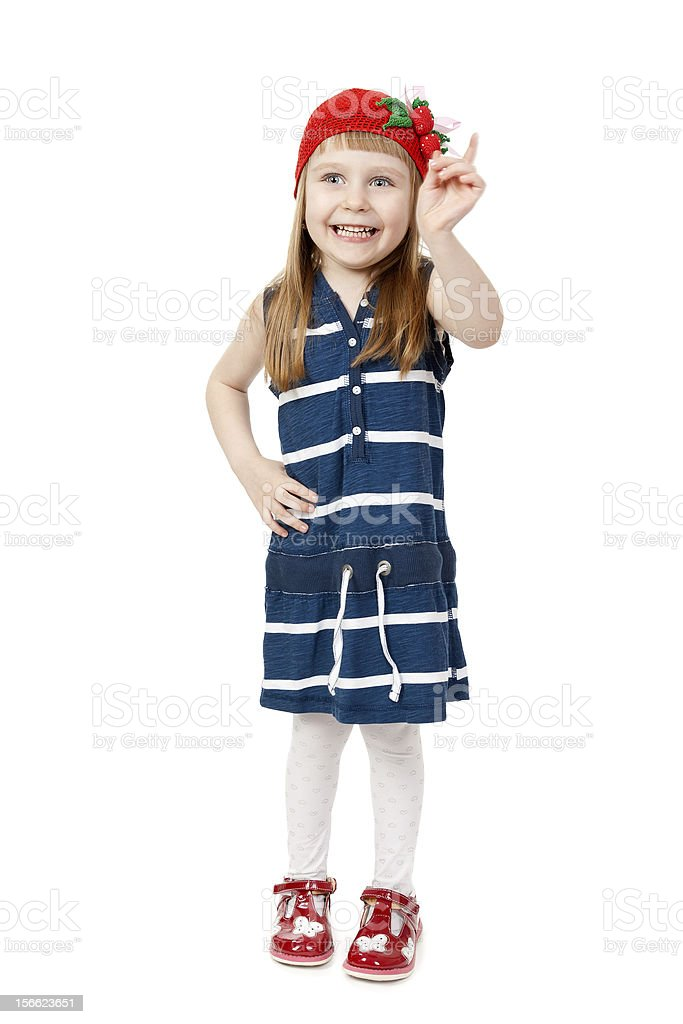 Happy smiling little girl isolate on white background royalty-free stock photo