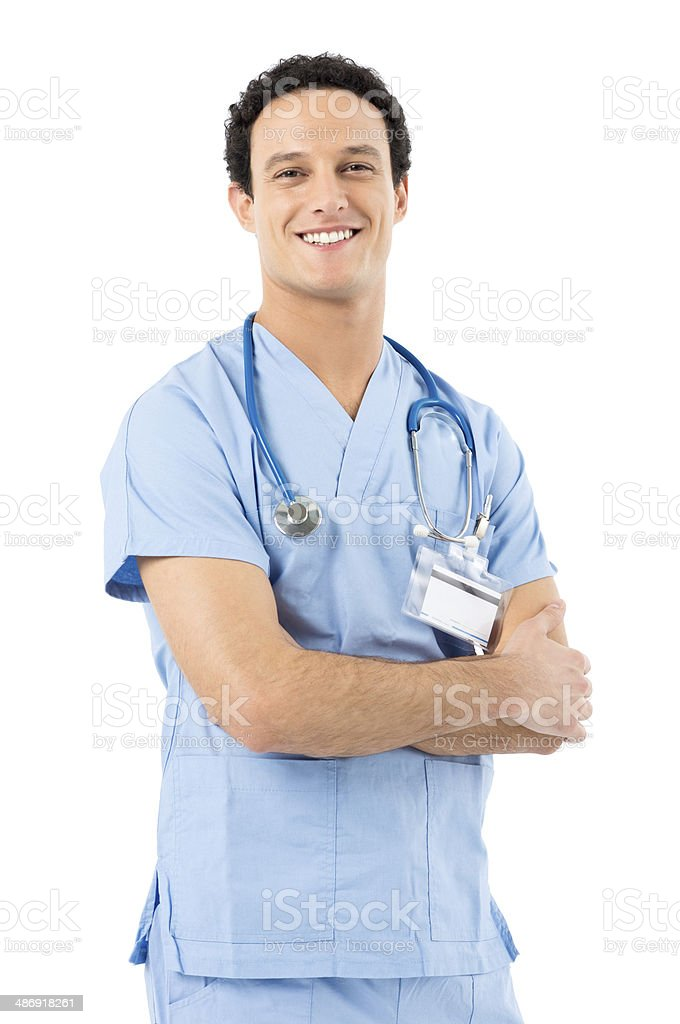 Happy Smiling Male Nurse stock photo