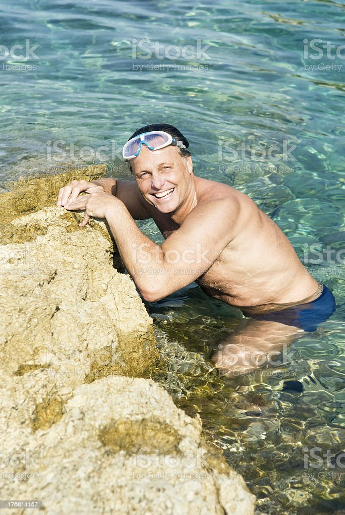 happy smiling man in the sea. royalty-free stock photo