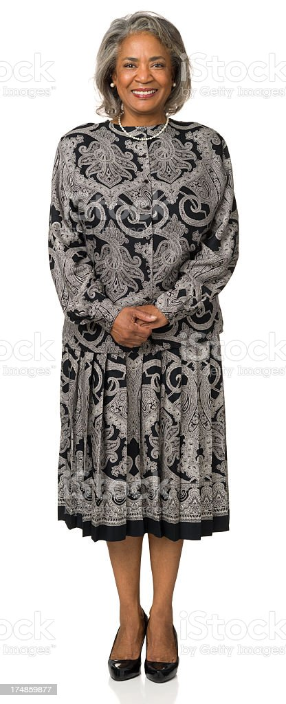 Happy Smiling Mature Woman Standing Portrait royalty-free stock photo