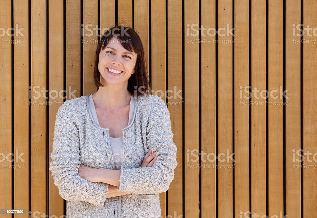 Happy smiling middle aged woman stock photo