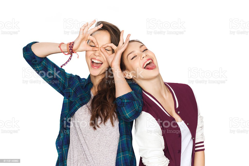 happy smiling pretty teenage girls having fun stock photo