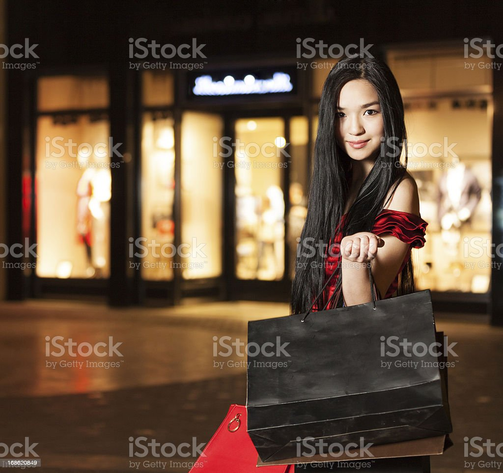 Happy smiling shopping girl stock photo
