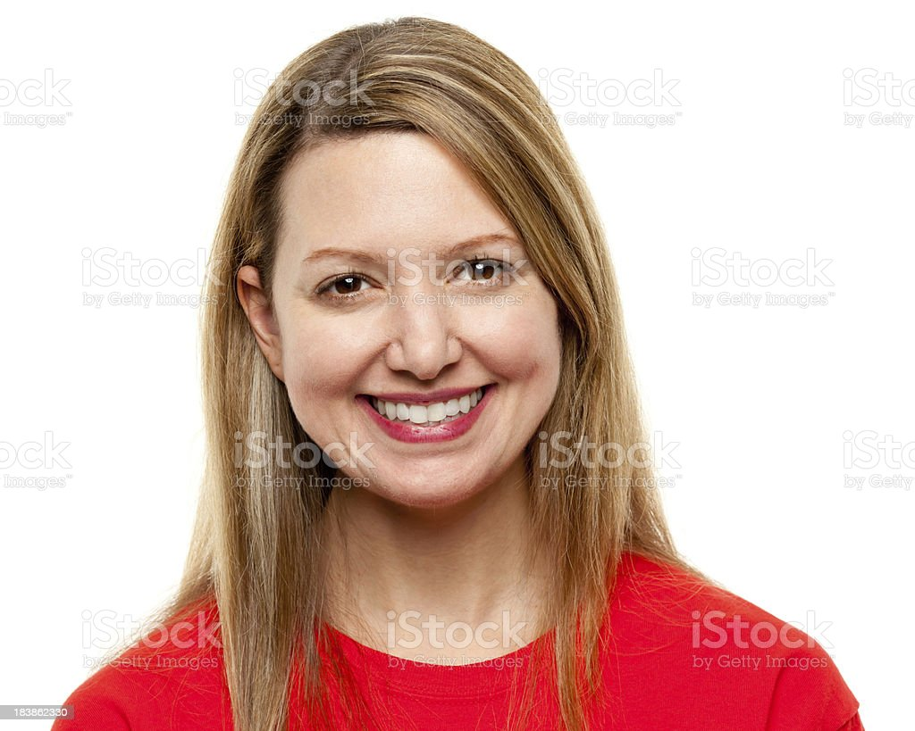 Happy Smiling Woman Headshot Portrait royalty-free stock photo