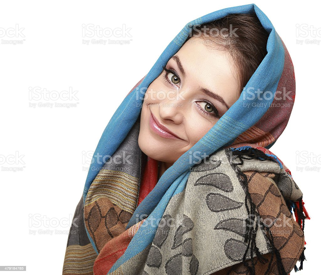 Happy smiling woman in modern shawl isolated stock photo