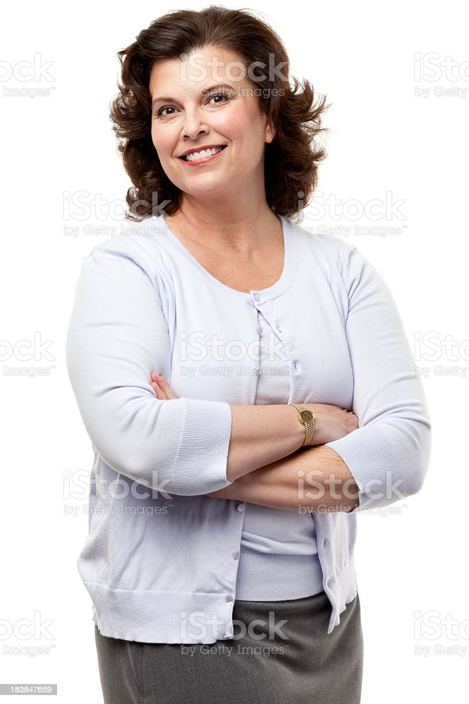 Happy Smiling Woman Posing WIth Arms Crossed stock photo