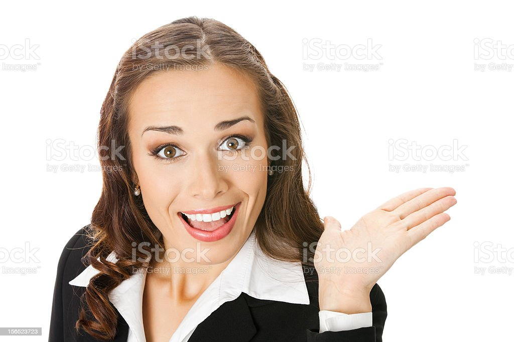Happy smiling young business woman showing royalty-free stock photo