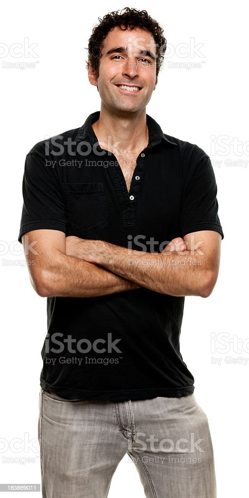 Happy Smiling Young Man Posing With Arms Crossed royalty-free stock photo