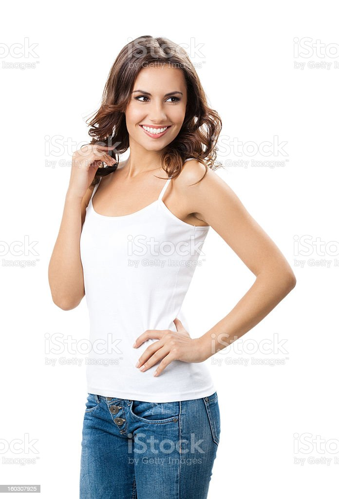Happy smiling young woman, over white royalty-free stock photo